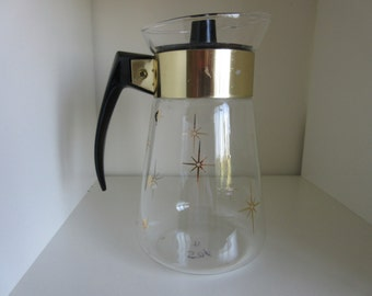 Vintage  Atomic Starburst Pyrex 6 Cup Coffee Pot  Carafe ** Epsteam
