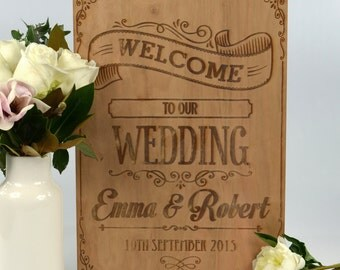 1 x Engraved Rustic Style Wooden Ceremony or Reception Welcome Sign