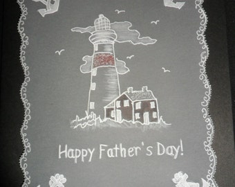 Lighthouse Handmade  Card - Parchment Craft. Birthday, Father's Day,Dad,Husband,Son