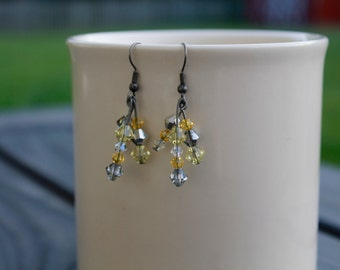 Yellow and gray beaded dangle earrings