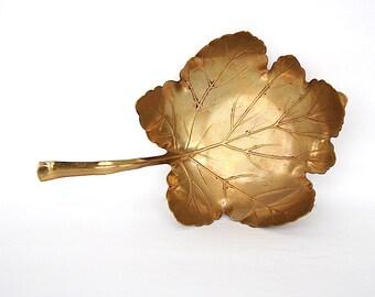Brass Leaf Dish - Maple Leaf - Art Nouveau Decor - Apollo Studios NY - Metal Leaf Decor - Antique Metalwork - Leaf Sculpture - Brass Decor