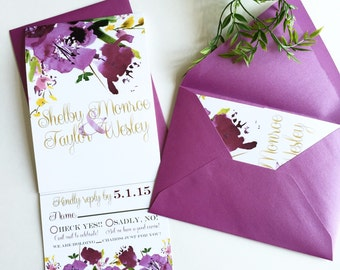 Purple floral | All-N-One wedding Invitation | Tri-fold with attached RSVP | Deposit to get started