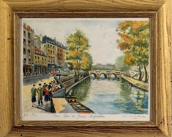 Rare ca.1935 Paris Seine River Banks Etching by French Artist G.Dinchat