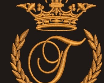"""Crown, laurel wreath and the monogram letter """"T"""" - Machine embroidery design,   design tested."""