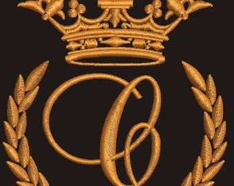 """Crown, laurel wreath and the monogram letter """"C"""" - Machine embroidery design,   design tested."""