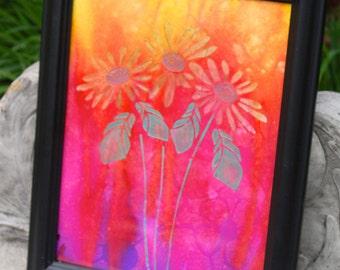 Daisy's Original Mixed Media Painting, 11x14 Framed Canvas Art