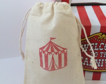 Carnival Tent Circus Muslin Favor Bags, Set of 10 (3x5 shown)