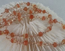 Sparkling Faceted Sunstone and Citrine Necklace