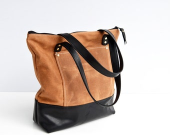 READY TO SHIP. Tan waxed canvas and leather zipper pocket tote bag