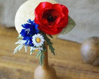 Fascinator Poppy cornflower red blue white headpiece millinery pillbox frida daisies