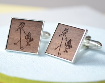 Personalised Engraved Drawing Cufflinks - Drawing Cufflinks - Dad Cufflinks - Engraved Cufflinks - Picture Cufflinks - Fathers Day Gift