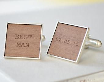 Personalised Best Man Engraved Cufflinks - Wedding Gift - Best Man Gift - Groomsmen Cufflinks - Custom Cufflinks - Rustic Wedding Cufflinks