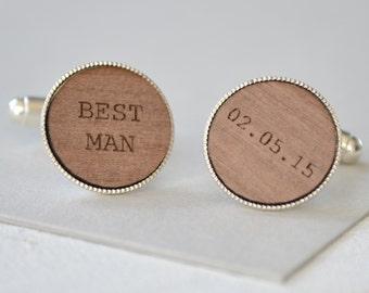 Best Man Personalised Cufflinks - Wedding Cufflinks - Custom Cufflinks - Gift for Best Man - Groomsmen Gift - Wooden Cufflinks - Chief Usher