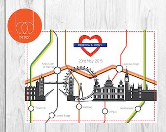 London Tube Map Themed Wedding Invitation