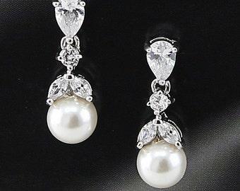 "Bridal Earrings ""Cubic Zirconia""  Wedding Earrings Wedding Jewelry Bridal Jewelry ""Pearl"" Drop Earrings Style-624"