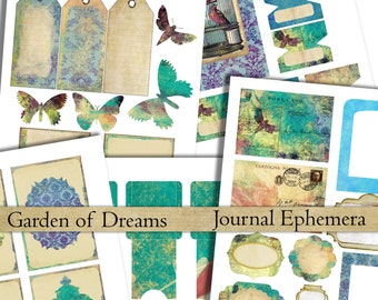 printable journal kit ephemera digital collage sheet Garden of Dreams shabby labels tags tabs pockets journaling instant download scrapbook