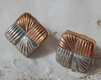 Two Toned Brass Square Cuff Studs