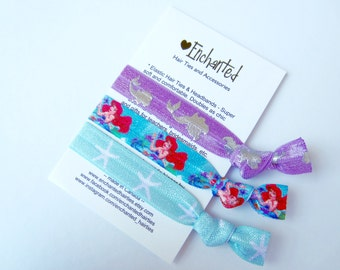 Ariel Inspired 3-Pack Soft Elastic Hair Ties, Bracelet, Hair Band,Hair Elastic, Party Favour, Princess, Ponytail, The Little Mermaid