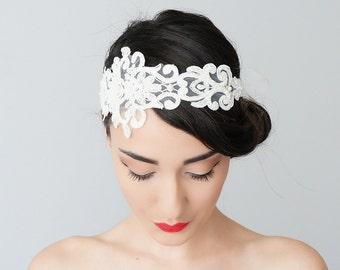 Bridal Headband Bridal Headpiece Lace Headband Retro Headband Wedding Accessories Bridal Accessories Lace Headpiece / SOLINAS