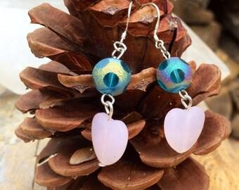 Pink Heart Dangle Earrings