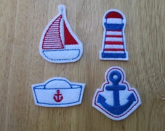 Summer Sailing Felt Embellishment, set of 4, Felties