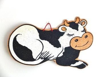 French vintage wall COW corkboard / organizer / Memo