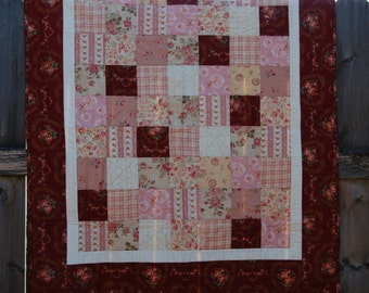 Decorative Floral Lap Quilt with Single Diagonal Quilting