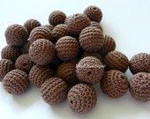 "Crochet beads 5 PCS  3/4""  20 mm Chocolate Brown Wooden crochet cotton beads Crocheted bead Round beads Necklaces"
