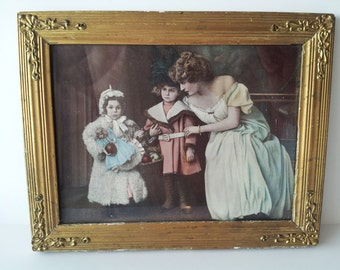 Vintage Framed Colored Portrait Photograph or Lithograph - Family: Mother and Children with doll - Victorian Style with Gold Gilded Frame
