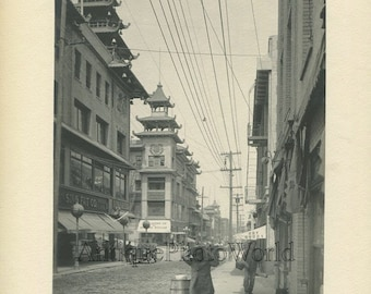 San Francisco CA Chinatown street China antique photo