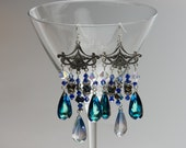 "Swarovski Crystal Pendant Chandelier Earrings ""Teardrops of the Sea"""
