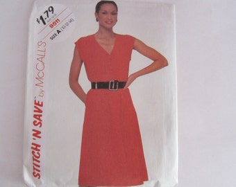 McCalls 9511 Stitch 'N Save Women's Sleeveless Pullover Dress Size 10-12-14 Uncut Vintage Sewing Pattern 1980s, Uncut Vintage Sewing Pattern