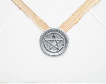 Pentacle Wax Seal, wiccan wax seal, wiccan invitation, ready made seal, peel n stick seal, real wax seal, made to order