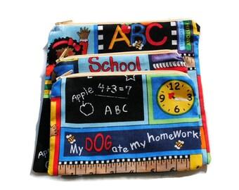 Reusable Sandwich Snack Bags set of 3 Zipper School Days