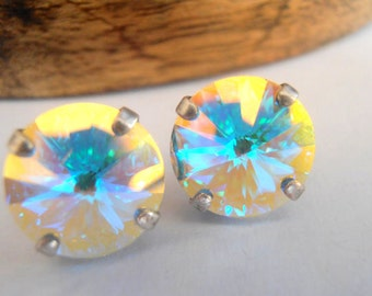 Aurora Borealis Studs, AB Swarovski Crystal Post Earrings, 12mm Rivoli setting, Shimmer, Antique Old Silver Plated
