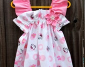 Ruffled Boutique White and Soft Pink Hello Kitty Birthday Party Little Girl's Sundress