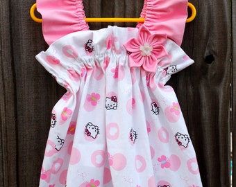 Limited Edition Ruffled Boutique White and Soft Pink Hello Kitty Birthday Party Little Girl's Sundress