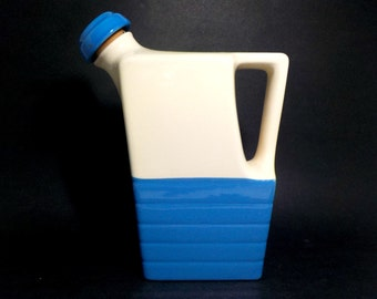 Water Jug, Pottery Blue Cream Refrigerator Jug, Water Pitcher, Universal Potteries, Made in USA, Cottage Chic, Farmhouse Kitchen