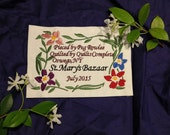 """Flower Frame Quilt Label w/custom text """"Made with love for"""""""