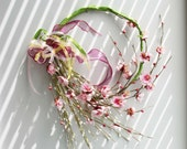 Pink blossoms wreath, almond tree blossoms wreath of polyester, wire and ribbon, pink and lime unique wreath, spring and summer wreath