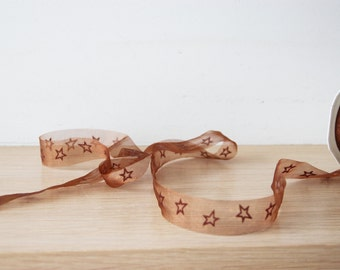 Clear brown ribbon, transparent Christmas, organza ribbon with stars in chocolate brown, Xmas crafts, soft ribbon, Holiday trim, 5 yards