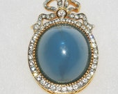 RARE Joan Rivers High Domed Brooch Blue with Crystals                     - S1240