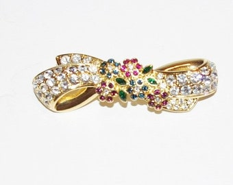 Nolan Miller Brooch - Crystal Bow Pin Brooch - S1256