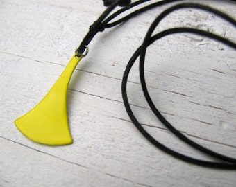 Bright Yellow Upcycled Choker Necklace, Eco-Friendly Jewelry, Fan-Shaped Charm, Layering Necklace, Beachy, Surfer Girl Jewelry
