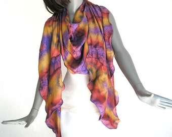 Hand Painted Scarf, Rust Silk Scarf, Plum Purple Scarf Unique Hand Dyed Silk, One of a Kind, Artisan Handmade, Hand Dyed Scarf, Jossiani