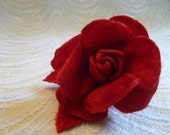 Small Velvet Rose Flower and Leaves in Red for Hats, Corsages, Brooch, Bouquets 4FN0101R
