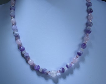 I have made this stylish modern jewelry necklace using semi precious stones e.g. rose quartz and blue lace agate with crystal spacer beads
