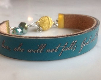 God is within her, she will not fall... Psalm 46:5  Leather and bead Bauble Bracelet.  Gifts for her, graduation gift, sympathy gift