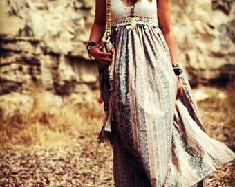 Custom Bohemian maxi dress crochet cotton boho dress halter gypsy dress peasant dress festival dress long dress hippie dress free spirit