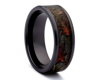 black camo wedding rings by one camo black titanium wedding ring black rings - Mens Camo Wedding Rings